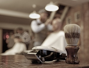 Shaving equipment at a retro barbershop